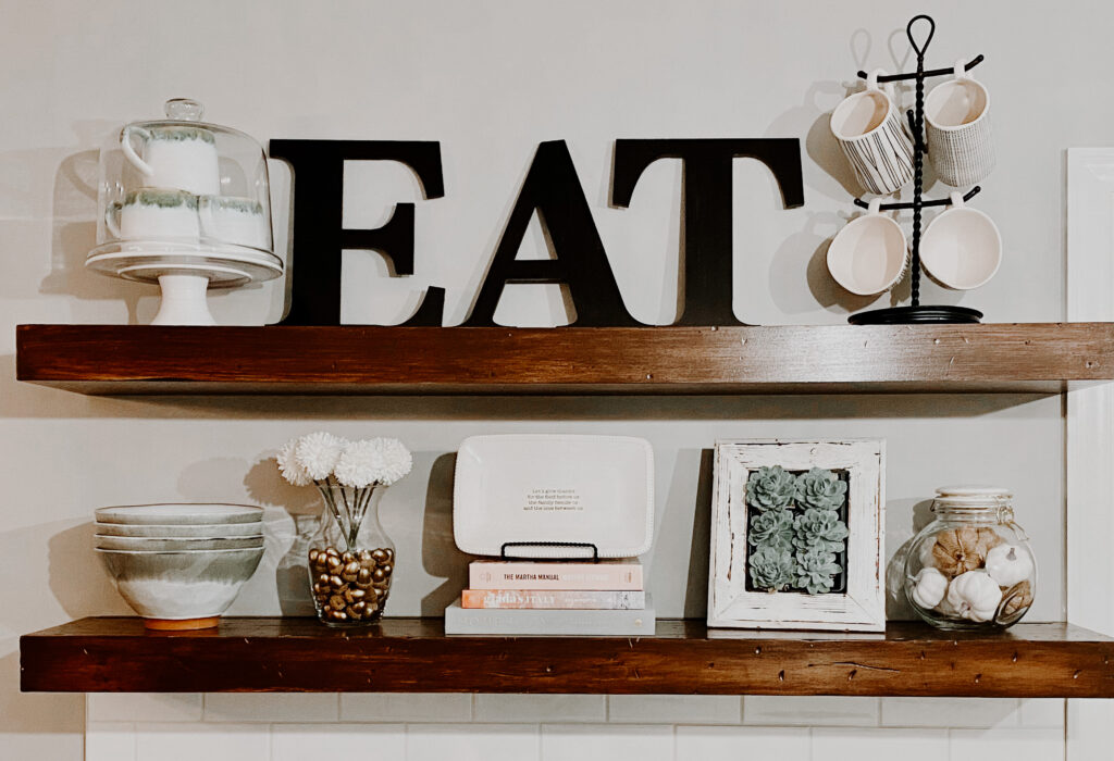 EAT shelf decor